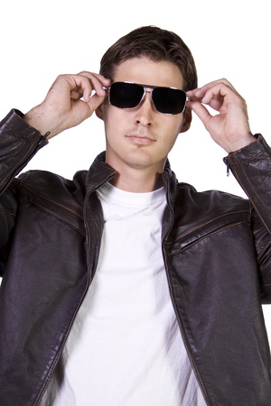 Isolated Sexy Male model with jacket and sunglasses Stock Photo - 8448482