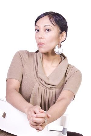 Close up of a Beautiful Asian Hispanic Girl - Isolated Shot Stock Photo - 8588795