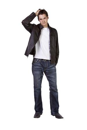 young man standing: Shot isolata di un giovane Good Looking in piedi Archivio Fotografico
