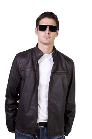 dashing: Isolated Sexy Male model with jacket and sunglasses Stock Photo