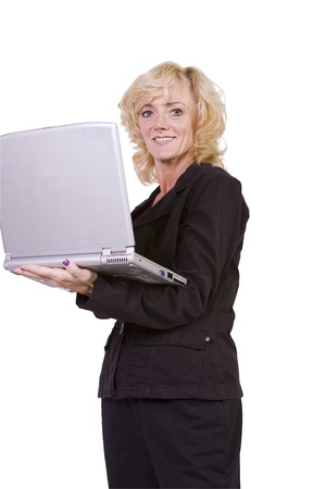 1 person: Isolated Shot - Beautiful Woman Holding a Laptop