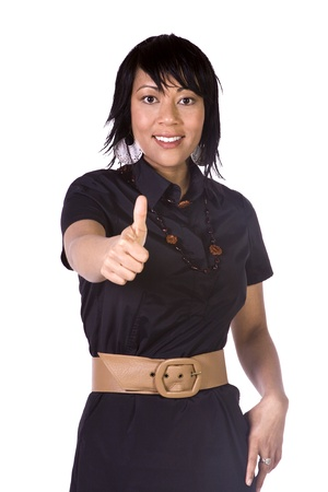 Isolated Shot of a Beautiful Asian - Hispanic Girl Giving the Thumbs Up Stock Photo - 8612945
