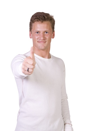 Isolated Image of a Handsome Businessman Giving Thumbs Up - White Background photo