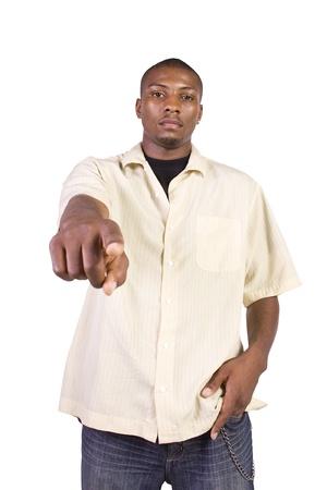 Isolated Black Businessman Pointing Towards the Camera photo
