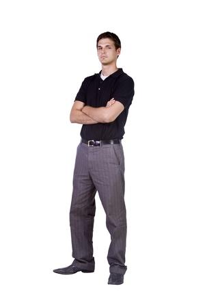mani incrociate: Casual uomo con le sue braccia incrociate Posing - sfondo isolato Archivio Fotografico