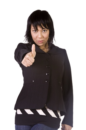 Isolated Shot of a Beautiful Asian - Hispanic Girl Giving the Thumbs Up Stock Photo - 8675323