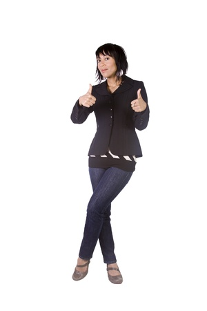Isolated Shot of a Beautiful Asian - Hispanic Girl Giving the Thumbs Up Stock Photo - 8676329