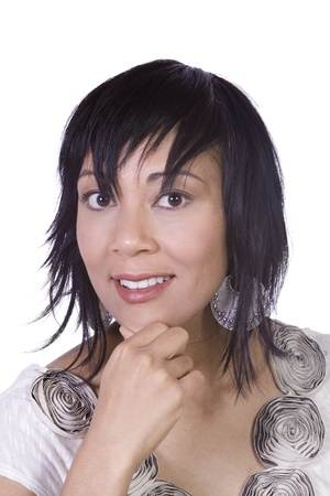 Close up of a Beautiful Asian Hispanic Girl - Isolated Shot Stock Photo - 8676405