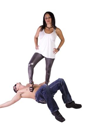 imagen sexy de una mujer dominando sobre hombre-aislado Foto de archivo - 8676342