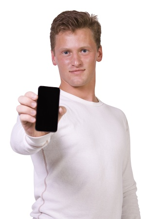 phone: Isolated White Businessman Showing His Cell Phone Stock Photo