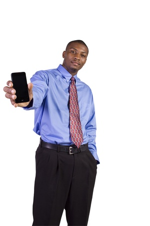 Isolated Black Businessman Showing His Cell Phone photo