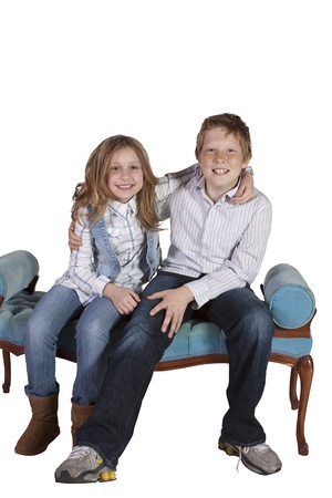 goofing: Brother and Sister Playing Around - Isolated Background