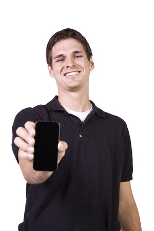 Isolated White Businessman Showing His Cell Phone photo