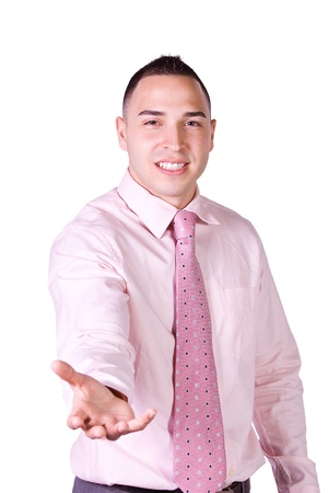 extending: Handsome Hispanic Businessman Extending His Empty Hand for your product Stock Photo