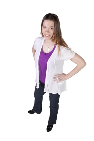 Beautiful Girl Standing Up on an Isolated Background Stock Photo - 10724378