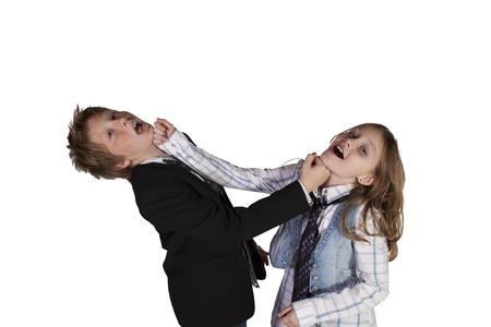 Broer en zus spelen Around - Geà ¯ soleerde Achtergrond Stockfoto