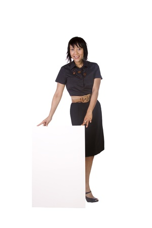 young add: Isolated Beautiful Woman Holding a Blank Card