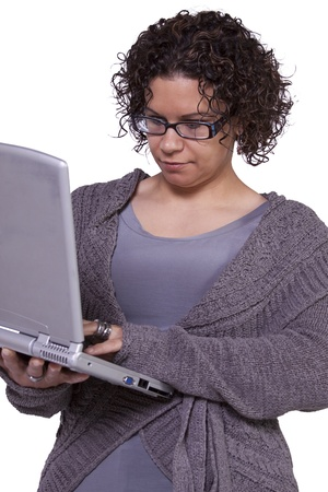 Isolated Shot - Beautiful Woman Holding a Laptop