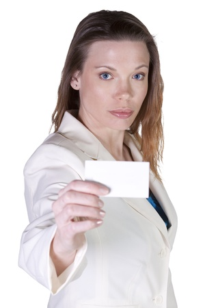 businesscard: Businesswoman Holding a Blank Businesscard -  Isolated White Bacground
