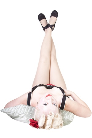 Isolated shot of a Sexy Retro Woman - Pin up Model Stock Photo