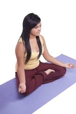 Woman in Yoga Position - Isolated White background photo