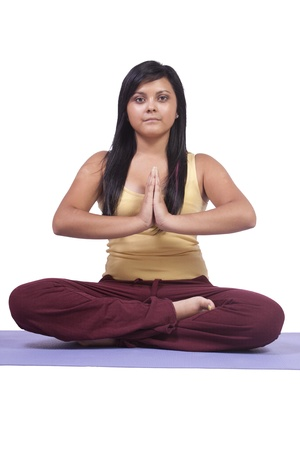 Woman in Yoga Position - Isolated White background Stok Fotoğraf