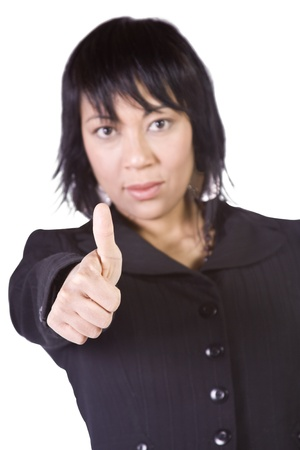 Isolated Shot of a Beautiful Asian - Hispanic Girl Giving the Thumbs Up photo