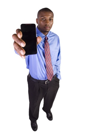phone: Isolated Black Businessman Showing His Cell Phone