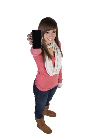 Beautiful Woman Holding a Cell Phone - Isolated Background photo