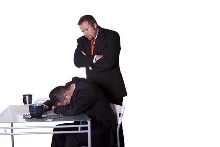 sleep: Businessmen in an Office Caught Sleeping on the Job - Isolated Background Stock Photo