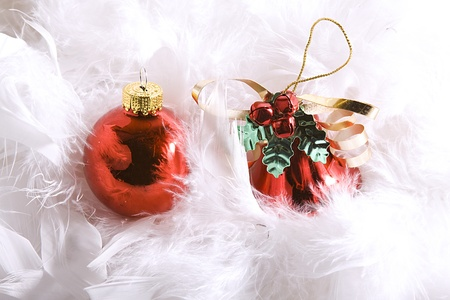 Isolated Christmas Background - Ornaments with white space