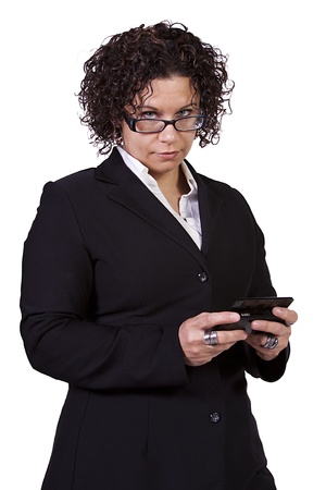 Hispanic Businesswoman in a Suit Texting on an Isolated Bacground
