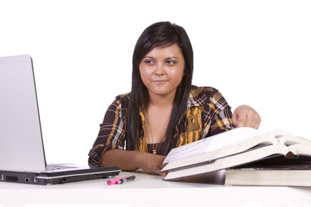 hispanic students: Young high school student studying for exams