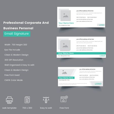 Professional creative Corporate And Business Personal Email Signature Template  イラスト・ベクター素材