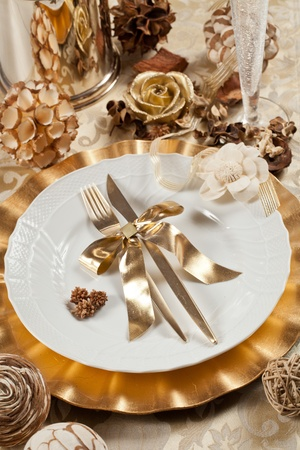 Beautiful and elegant gold place setting for christmas or celebrations Stock Photo - 11191080