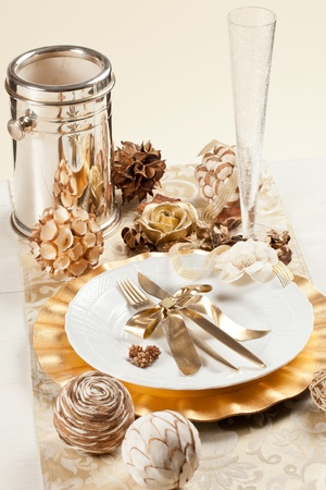 Beautiful and elegant gold place setting for christmas or celebrations Stock Photo - 11195151