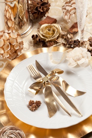 dinnerware: Beautiful and elegant gold place setting for christmas or celebrations
