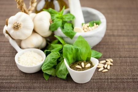 Freshly made pesto genovese sauce with ingredients. oil, parmesan cheese, garlic, pine nuts and basil Stock Photo - 11288999