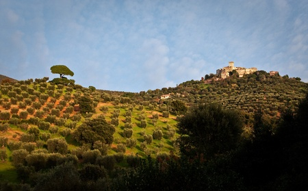 View of castle of Capalbio surrounded by beautiful tuscany countryside Stock Photo