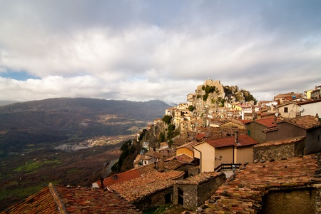 View of Cervara di Roma, his monastery and below valley