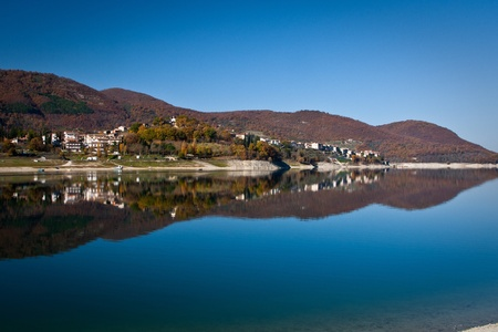 tora: View of rural village of Colle di Tora and Turano lake Stock Photo