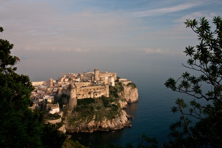 Aerial view of beautiful promontory of Gaeta, Italy famed by trees