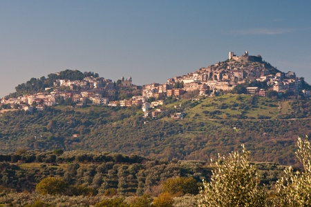 View of rural village Guidonia Montecelio, Italy and the undelying valley