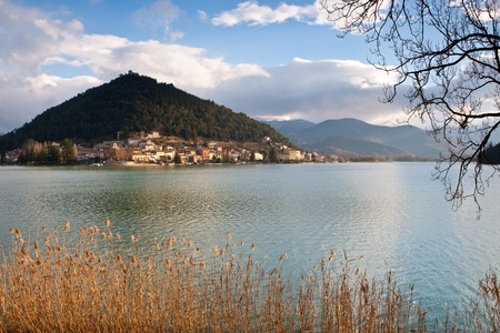 Scenic view of Piediluco lake  in morning golden light