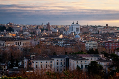 aerial view of Rome, Italy at sunrise in winter photo