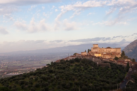 View of Caetani castle, Sermoneta village and his valley in morning light