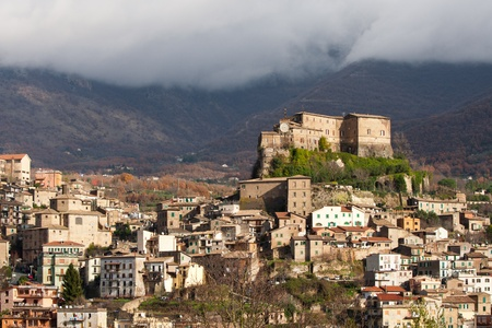 View of rural village of Subiaco and his Abbey on hill top Archivio Fotografico