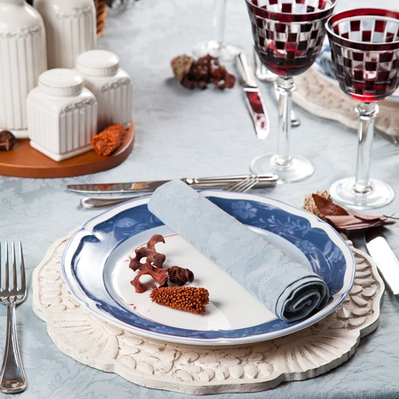 Red white and blue elegant table and place setting for holidays and celebrations Stock Photo - 11551095