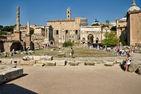 View of archaeological site of Forum Romanum in Rome, well known as imperial forum