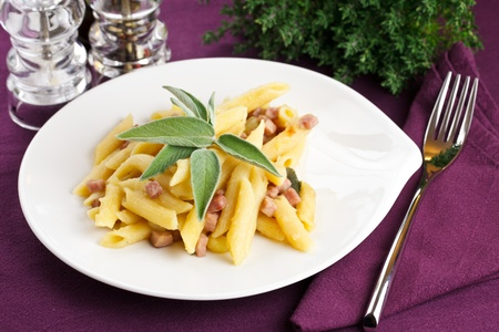 Delicious plate of penne pasta with ham and potatoes. Served in a modern dishware over a violet table setting